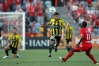 Vince Lia of the Phoenix passes the ball forward during the round 13 A-League match between Adelaide United and the Wellington Phoenix at Hindmarsh Stadium. Photo / Getty Images