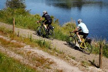 Reporter Phil Taylor, with friend Jackson Foster, cycled the section of the Waikato River Trails from Karapiro to Atiamuri. Photo / Christine Cornege