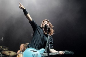 Dave Grohl of the Foo Fighters rocks Western Springs Stadium, Auckland. Photo / Richard Robinson
