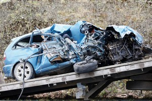 A teenage driver was killed when this car collided with a truck on a country road in February. Photo / Richard Robinson