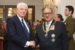 Columnist Garth George with Sir Anand Satyanand, after being invested as a Member of the NZ Order of Merit (MNZM) at Government House in Wellington, earlier this year. Photo / Mark Mitchell