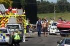 Brett McCready's ute (far right) was flipped in the crash that killed Merepeka and Brooklyn Morehu-Clark. Photo / Alan Gibson
