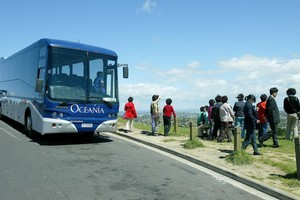 Tourists used to be able to hop off their buses at the summit of Mt Eden but now a ban has been put in place to protect the mountain.  Photo / APN