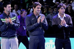 Novak Djokovic, Roger Federer and Rafael Nadal. Photo / Getty Images