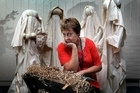 Rotorua Hospital chaplaincy administrator Alison Lamberton with the nativity scene from which baby Jesus was taken. Photo / Daily Post
