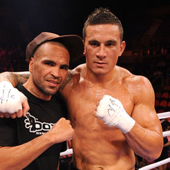 Sonny Bill Williams and Anthony Mundine after the bout between Williams and Scott Lewis. Photo / Getty Images