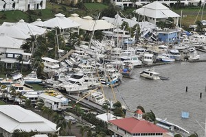 Yasi's 290km/h winds hurled pleasure craft together in a stack at Port Hinchinbrook in Cardwell, south of Cairns. Photo / AFP
