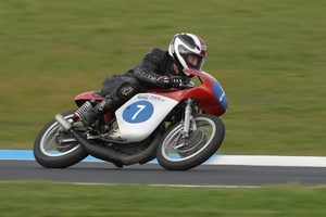 Ginger Molloy is still racing his 1966 Bultaco 350 at the age of 74. Photo / Supplied