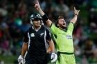 Shahid Afridi celebrates dismissing Ross Taylor lbw in the fifth ODI at Hamilton. Photo / Christine Cornege