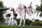 Promo girls Candy Barry & Natalie Sangster stand on one of the new elevated spectator mounds. Photo / Rhys Palmer
