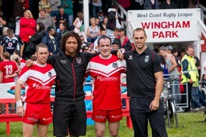 Kurt Dixon , Manu Vatuvei , Alan Monk and Simon Mannering at yesterday's fixture. Photo / Herald on Sunday