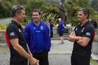 Warriors trainer Craig Walker (left), Matt Gidley from the Newcastle Knights and Warriors coach Ivan Cleary at the Brunner Mine Disaster Memorial near Greymouth. Photo / Simon Baker