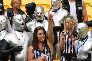Fans enjoying the occasion at the sevens at Wellington's Westpac Stadium yesterday. Photo / Mark Mitchell