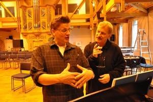 Jon Jackson's (left) soloist flamboyance was put to good use in Jack Body's Arias. Photo / Stephen Gibbs