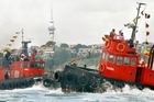 Competitors in the tugboat race have been seen to nudge each other during the event. Photo / Glenn Jeffrey