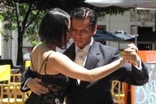 Tango dancers tout for business in Dorrego Square in San Telmo. Photo / Geoff Cumming