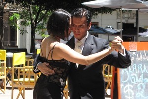 Tango dancers tout for business in Dorrego Square in San Telmo. Photo / Geoff Cumming