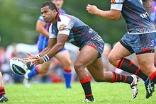 Alehana Mara of the Warriors passes during the NRL trial match against the Newcastle Knights. Photo / Getty Images