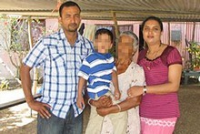 Diwesh Sharma, far left, is charged with the murder of his wife Rangjeeta, far right. Photo / Supplied