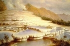A painting by Charles Blomfield of the White Terraces, which were destroyed in the 1886 eruption of Mt Tarawera. Remnants of the Pink Terraces, which were situated near the white ones, have been discovered on the bed of Lake Rotomahana.
