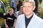 Martin Freeman (C) who will play Bilbo Baggins, with other cast members this morning. Photo / NZPA