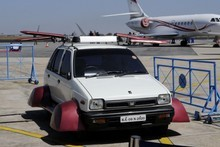 The 'flying Maruti' developed by Indian innovator A. K. Vishwanath. Photo / AFP
