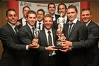 All Whites hold their Team of the Year and overall Halberg Award. Photo / Getty Images