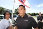 Supporters greet Te Tai Tokerau MP Hone Harawira at the disciplinary hearing. Photo / Mark Mitchell