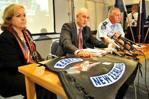 Police Minister Judith Collins at  Palmerston North press conference, Detective Inspector Chris Bensemann (left) and Central Police District Commander Russell Gibson. Photo / Graeme Mitchell-Anyon