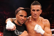 Sonny Bill Williams and Anthony Mundine after the bout with Scott Lewis. Photo / Getty Images