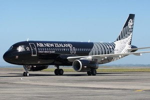 Air New Zealand's new 'All Black' A320 aircraft Herald Photo / Natalie Slade