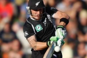 NZ batsman Brendon McCullum smashes a ball. Photo / Mark Mitchell