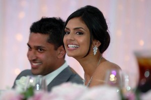 Beautiful bride Pooja Chitgopekar with groom Vikram Kumar at their wedding reception. Photo / Michael Craig