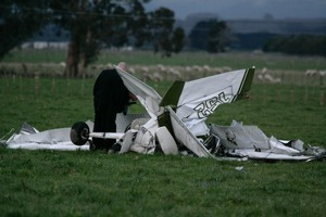 The wreckage of the plane that collided with another aircraft near Feilding last July, killing two. Photo / Kevin Bills
