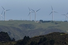 Turbines at Meridian Energy's West Wind wind farm at Makara, near Wellington. The Govt plans to float a minority stake in Meridian and the other state owned energy companies if it wins this year's election. Photo / Mark Mitchell