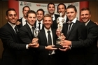 The All Whites team hold the Team of the Year and Supreme trophy during the Westpac Halberg Awards. Photo / Getty Images