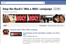 Stop the Rock's 'Win a Wife' campaign on Facebook.