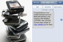 A 'smishing' message offering US$500,000 from the USA Mobile Lottery. The email address is a Windows Live account in China. Dubious? Photo / Supplied