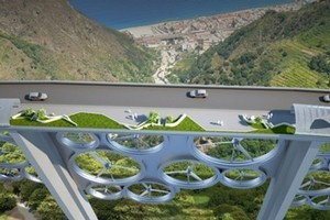 The concept bridge, which generates wind and solar energy.