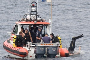 The search for Bishop's body. Photo / Rotorua Daily Post