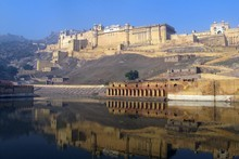 Perched on a craggy ridge above a lake, the Amber Palace's setting is spectacular. Photo / Chris Reed