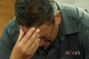 Hone Harawira had to ask the interviewer to interrupt filming when his emotions got the better of him. Photo / One News