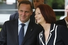 John Key and Julia Gillard. Photo / Greg Bowker