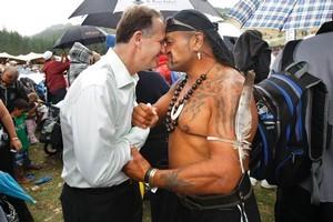Prime Minister John Key is welcomed to Gisborne's kapa haka event. Photo / Steven McNicholl