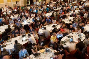 Laptops in use during Webstock in Wellington. Photo / Mark Mitchell