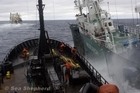 Sea Shepherd's ship the Bob Barker clashes with Japanese whaling ship Yushin Maru No.3 in the waters of Antarctica earlier this month. Photo / Supplied
