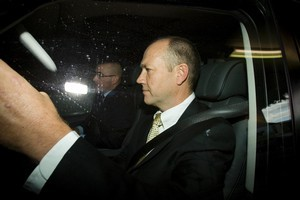 Mark Hotchin and Carrick Graham arrive at TVNZ for the Close Up interview. Photo / NZ Herald