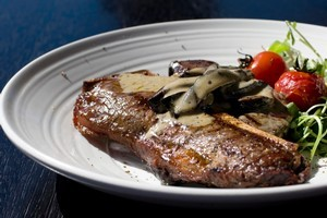 T-Bone steak with mushroom sauce and watercress at Marvel Grill. Photo / Richard Robinson