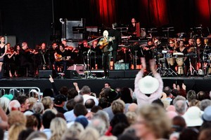 Sting performs with the  New Zealand Symphony Orchestra on stage at the Mission Winery Estate near Napier. Photo / APN