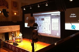 John Gruber presents a potted history of the Mac GUI at Webstock. Photo / Mark Webster